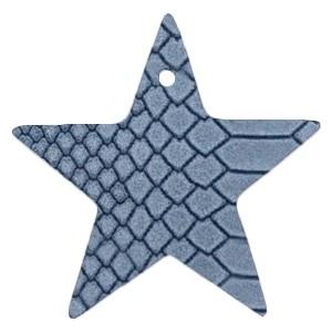 DQ leer hanger ster 5x5cm coronet blue