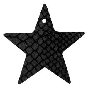 DQ leer hanger ster 5x5cm onyx black