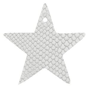 DQ leer hanger ster 5x5cm star white