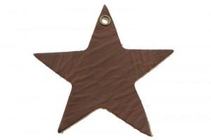 DQ leer hanger ster XL 9cm chocolade bruin