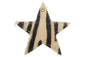 DQ leer hanger ster XL 9cm zebra bruin