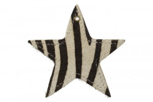 DQ leer hanger ster XL 9cm zebra