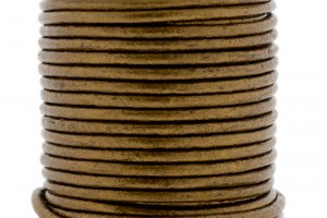 DQ leer rond 2mm bronze metallic 1 meter