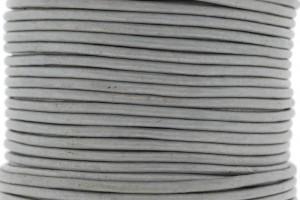 DQ leer rond 2mm licht zilver metallic 1 meter