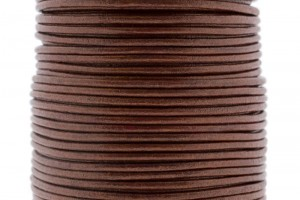 DQ leer rond 2mm metallic bordeaux 1 meter