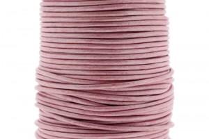 DQ leer rond 2mm metallic pink 1 meter