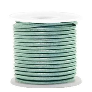 DQ leer rond 2mm pastel lark green metallic 1 meter
