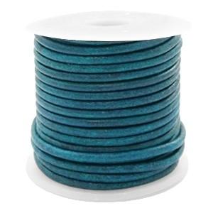 DQ leer rond 2mm vintage aqua dazzle blue 1 meter