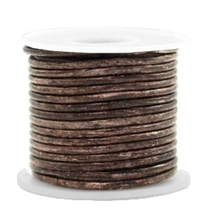 DQ leer rond 2mm vintage driftwood brown metallic 1 meter