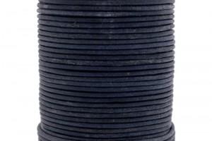DQ leer rond 2mm vintage grey black 1 meter