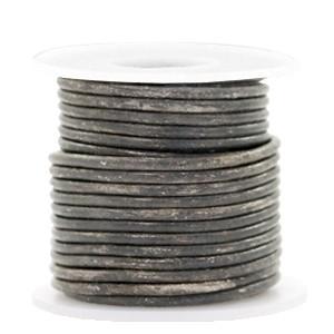 DQ leer rond 2mm vintage stormy grey metallic 1 meter
