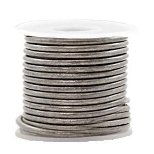 DQ leer rond 2mm vintage stormy silver metallic 1 meter