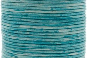 DQ leer rond 2mm vintage turquoise 1 meter