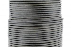 DQ leer rond 2mm zilver metallic 1 meter