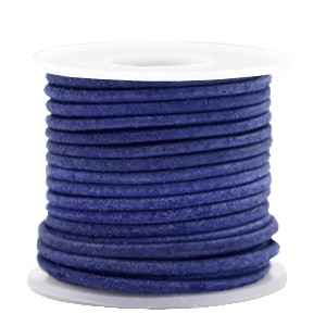 DQ leer rond 3mm antique blue 1 meter