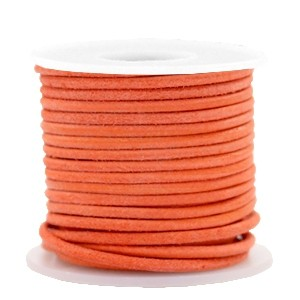 DQ leer rond 3mm antique orange 1 meter