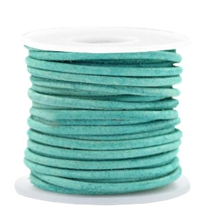 DQ leer rond 3mm antique turquoise green 1 meter