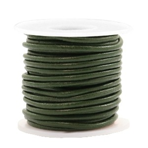 DQ leer rond 3mm army green metallic 1 meter