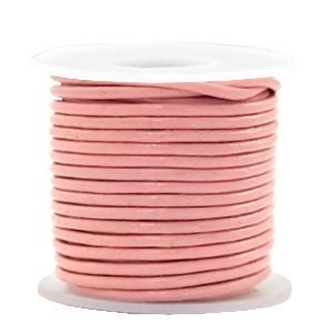 DQ leer rond 3mm blossom pink metallic 1 meter