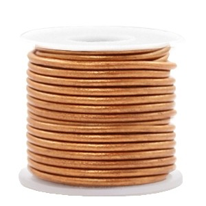 DQ leer rond 3mm copper gold metallic 1 meter
