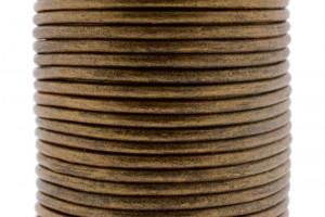 DQ leer rond 3mm licht bronze metallic 1 meter