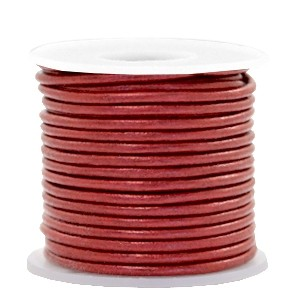DQ leer rond 3mm morrocan red metallic 1 meter