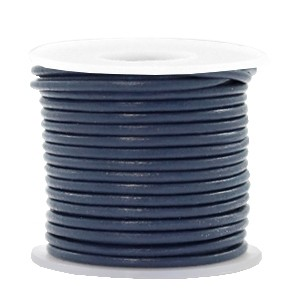 DQ leer rond 3mm navy blue 1 meter