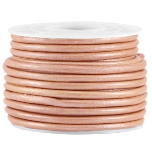 DQ leer rond 3mm rose brown metallic 1 meter