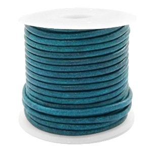 DQ leer rond 3mm vintage aqua dazzle blue 1 meter