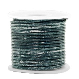 DQ leer rond 3mm vintage barberry blue metallic 1 meter