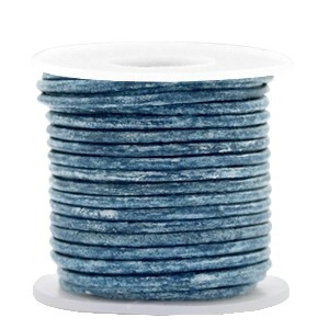 DQ leer rond 3mm vintage cool blue metallic 1 meter