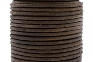 DQ leer rond 3mm vintage donker bruin 1 meter