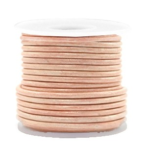 DQ leer rond 3mm vintage mauve moon rose metallic 1 meter