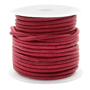 DQ leer rond 3mm vintage red 1 meter
