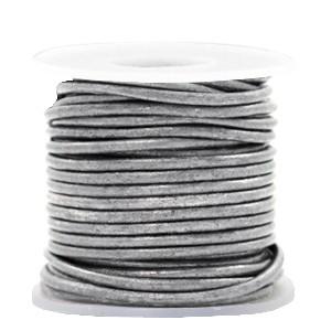 DQ leer rond 3mm vintage silver grey metallic 1 meter