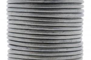 DQ leer rond 3mm zilver metallic 1 meter