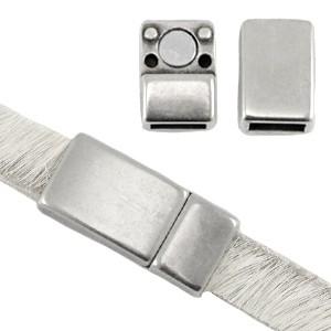 DQ magneetslot 17x8mm zilver (voor 5 en 6mm plat leer/koord)