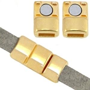 DQ magneetslot 18x8mm goud (voor 5mm plat leer/koord)