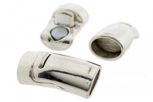 DQ magneetslot 27x13mm zilver (voor kabel leer 10x6mm of meerdere koorden leer / draad)