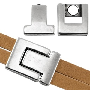 DQ magneetslot 33x24mm zilver (voor 20mm plat leer / koord)