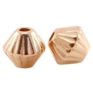 DQ metalen kraal cone met streepjes 4mm rosé goud