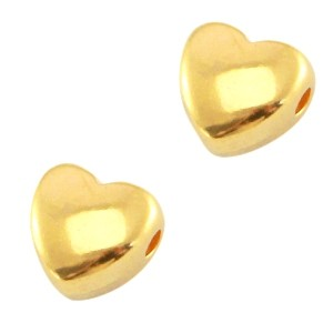 DQ metalen kraal hart 6mm goud (nikkelvrij)