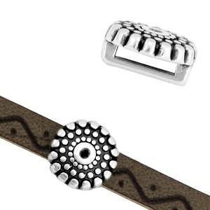 DQ metalen schuiver circles & dots zilver 10mm (voor 5mm plat leer/koord)