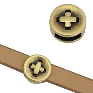 DQ metalen schuiver knoop brons 8mm (voor 5mm plat leer/koord)