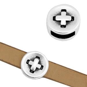 DQ metalen schuiver knoop zilver 8mm (voor 5mm plat leer/koord)