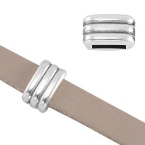 DQ metalen schuiver ribbel zilver 4.5x8x5mm (voor 5mm plat leer/koord)