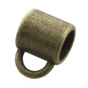 DQ metalen schuiver rond met oog brons 10x9mm (voor rond leer / koord tot 6mm)
