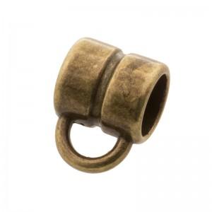 DQ metalen schuiver rond met oog brons 5x5mm (voor rond leer / koord tot 3mm)