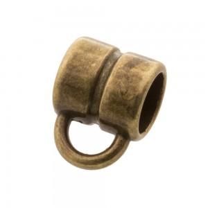 DQ metalen schuiver rond met oog brons 8x8mm (voor rond leer / koord tot 5mm)