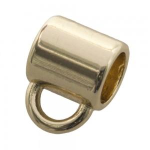 DQ metalen schuiver rond met oog goud 10x9mm (voor rond leer / koord tot 6mm)
